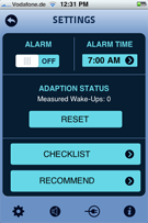Gentle Alarm for iPhone - Settings Screen